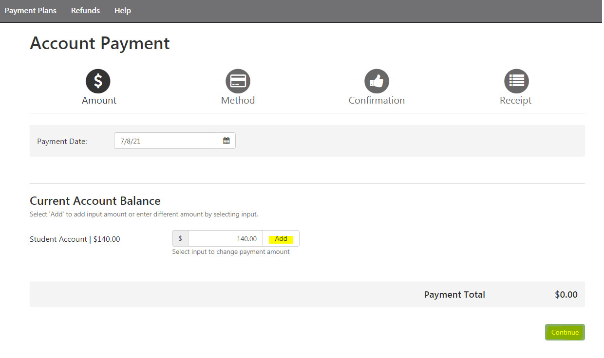 Student Account PAYMENT CENTER