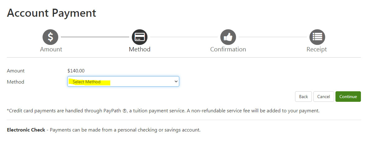 Student account Payments