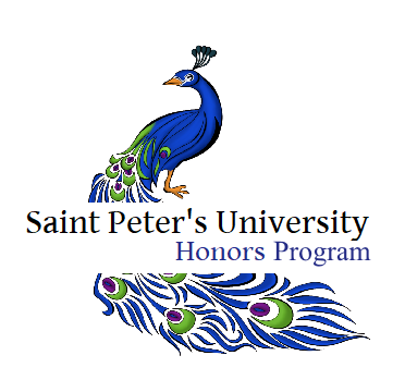 logo of saint peter's peacock with honor program title