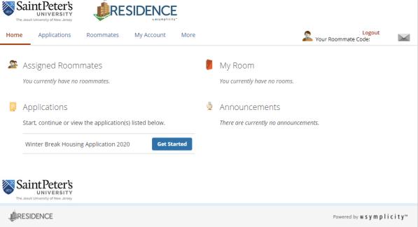 Residence app screen