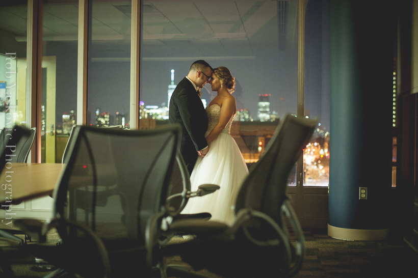 wedding couple in office