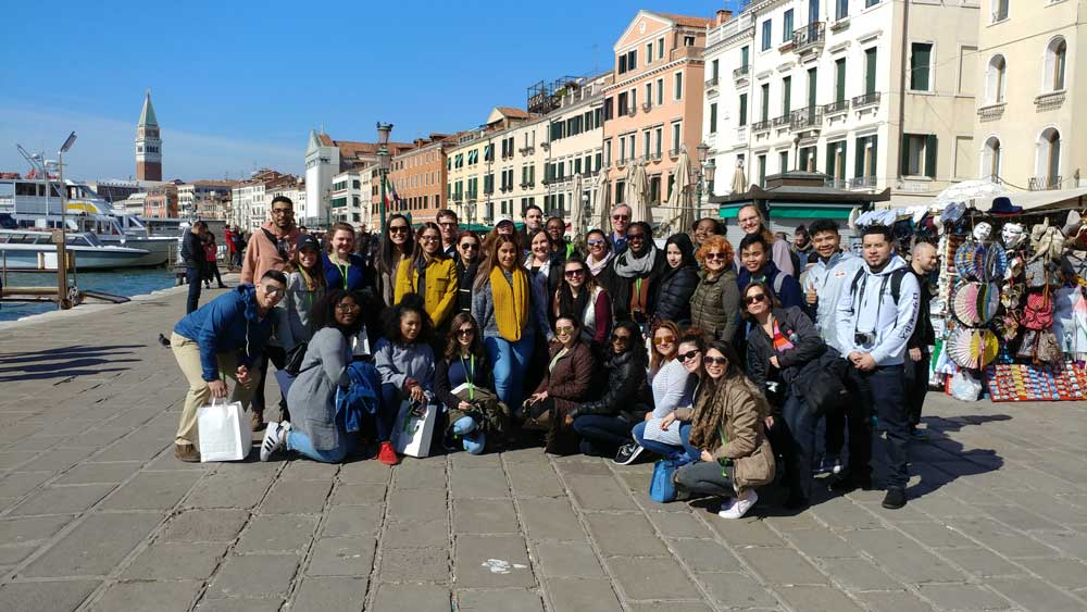 Students in Venice with Professor