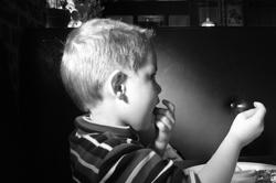 black and white filtered child
