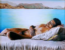painting of sleeping male