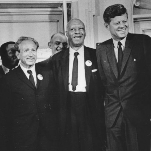 Joachim Prinz pictured with Rev. Dr. Martin Luther King, Jr. and President John F. Kennedy