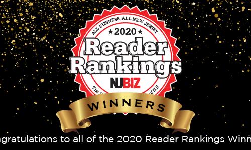 "Photo of a ribbon that reads ""NJBIZ 2020 Reader Rankings Winners"""