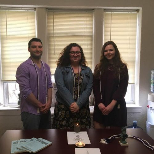 Phi Sigma Tau Inductees Anthony Coccaro '19, Nicole Font '20 and Alexis O'Callahan '19. Not pictured is inductee Melanie Mussman '19.
