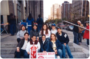students at hunger walk on steps
