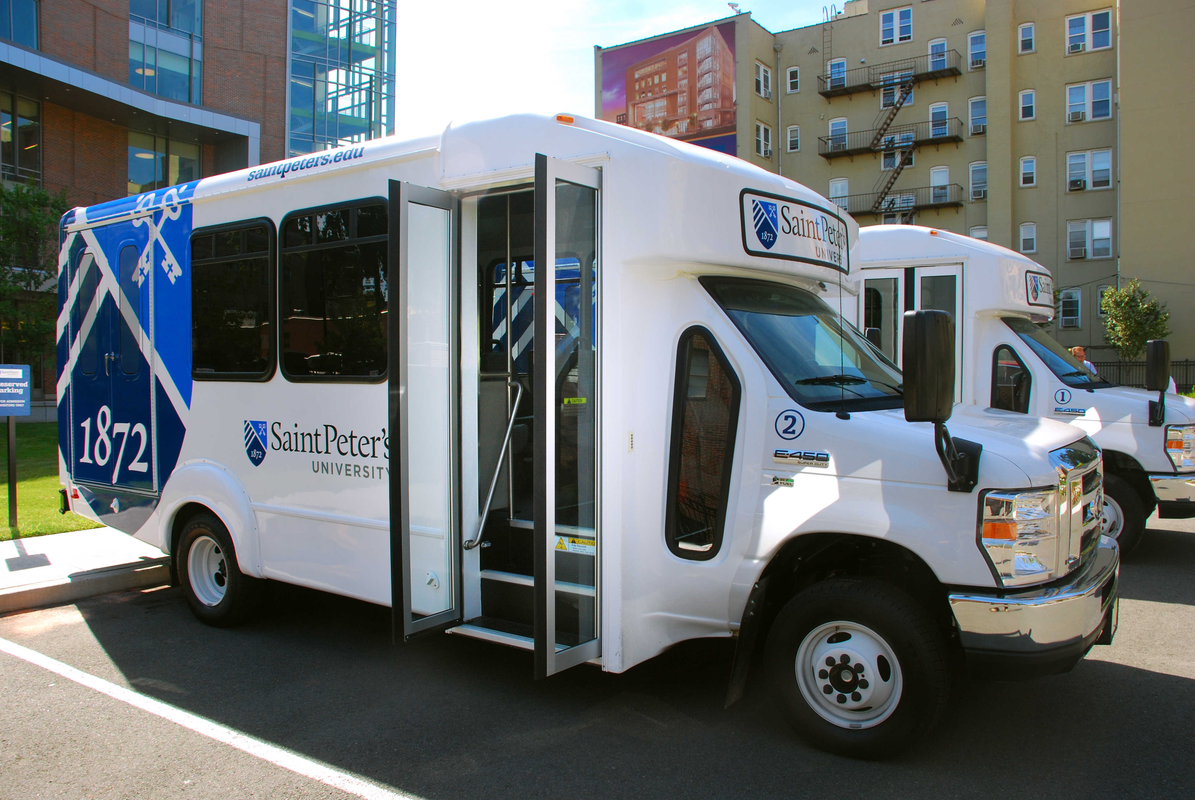 Saint Peter's University shuttle buses - operated by Campus Safety